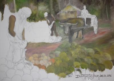 Coconut Harvest - Oil Painting