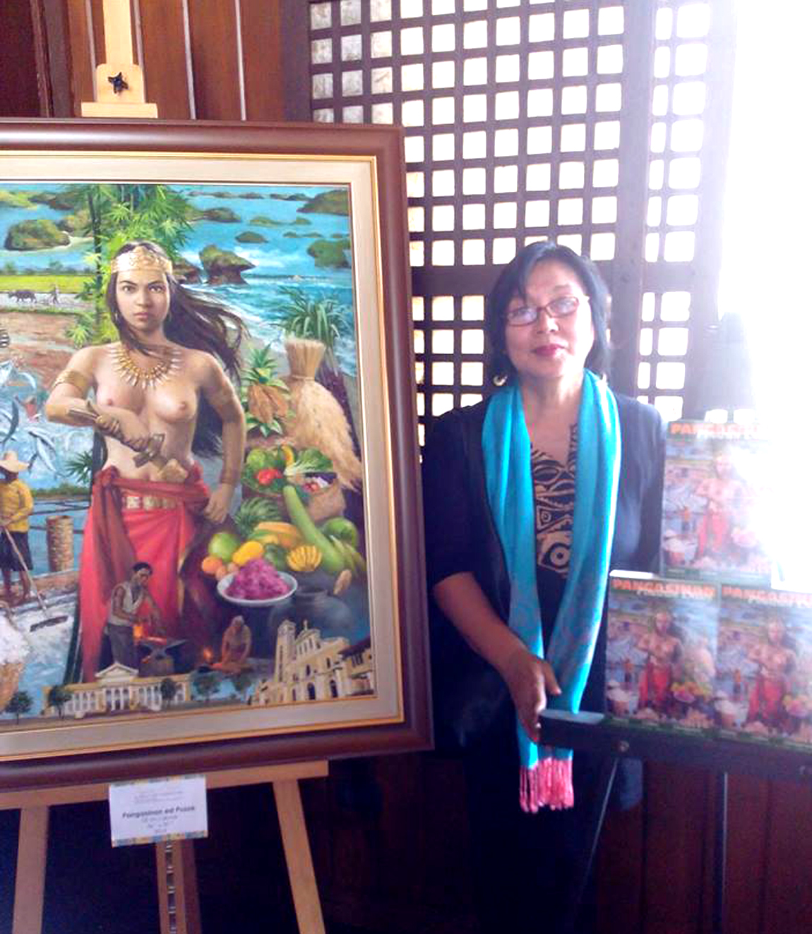 Author Gie Pasalo with book cover painting1