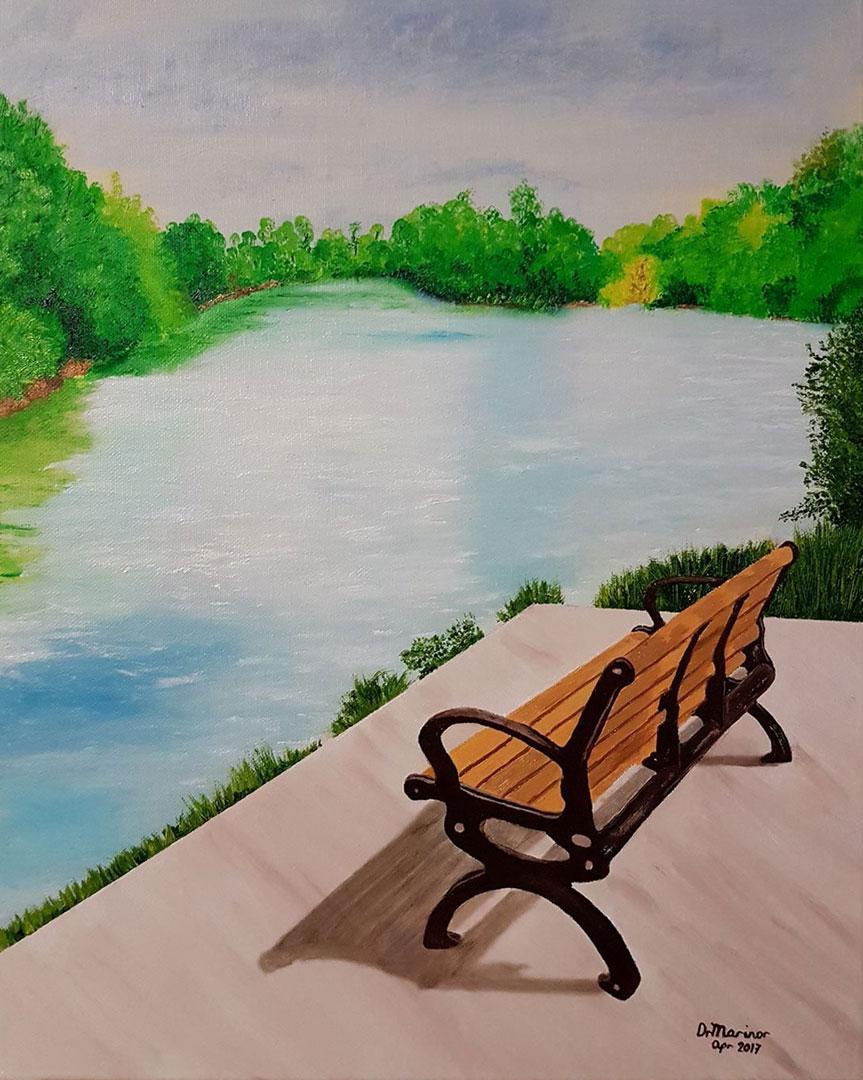 Dr Marinor Blanco - Lake Wabukayne 16X20 oil on canvas