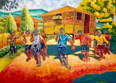 "Teody Asuncion Bayanihan 48"" x 36"" Acrylic on canvas"