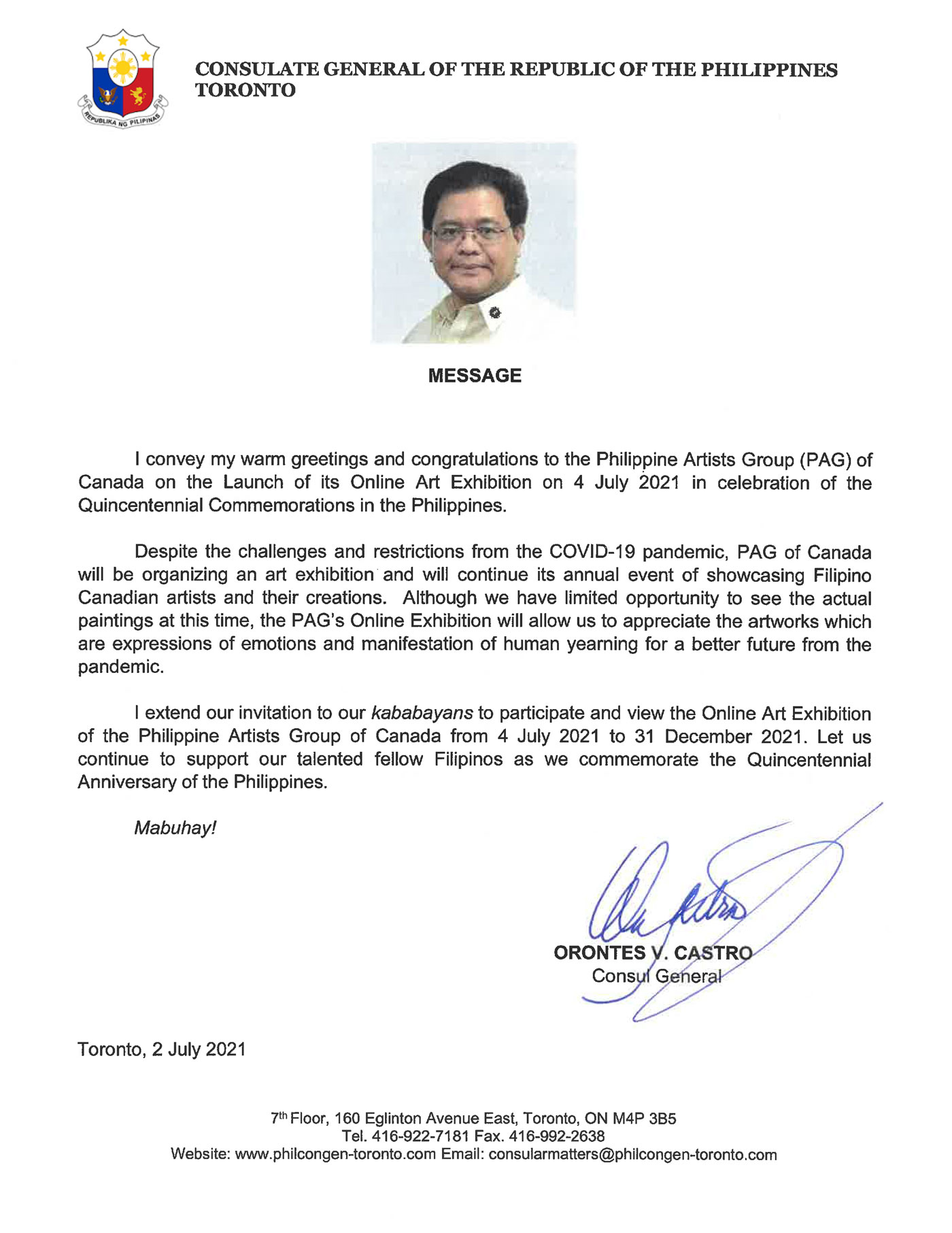 Consul General Orontes Castro Message to PAG
