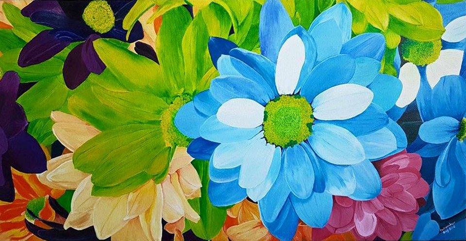 Dr Marinor Blanco - Dahlias 15x30 oil on canvas