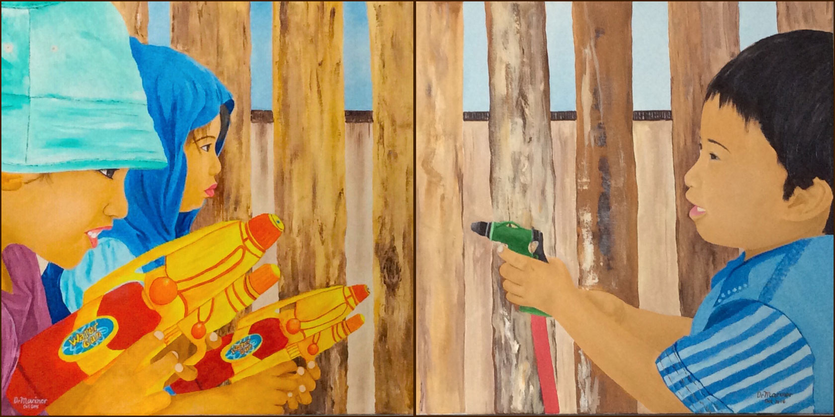Dr Marinor Blanco - Waterguns (18x26) versus Waterhose (18x26) Both oil on canvas