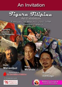 Figura Filipina Art Exhibition - Figurative Artists of the Philippines Romi MananQuil, Nemi Miranda, August Santiago