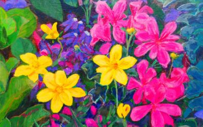 Flowers yellow and fuchsia