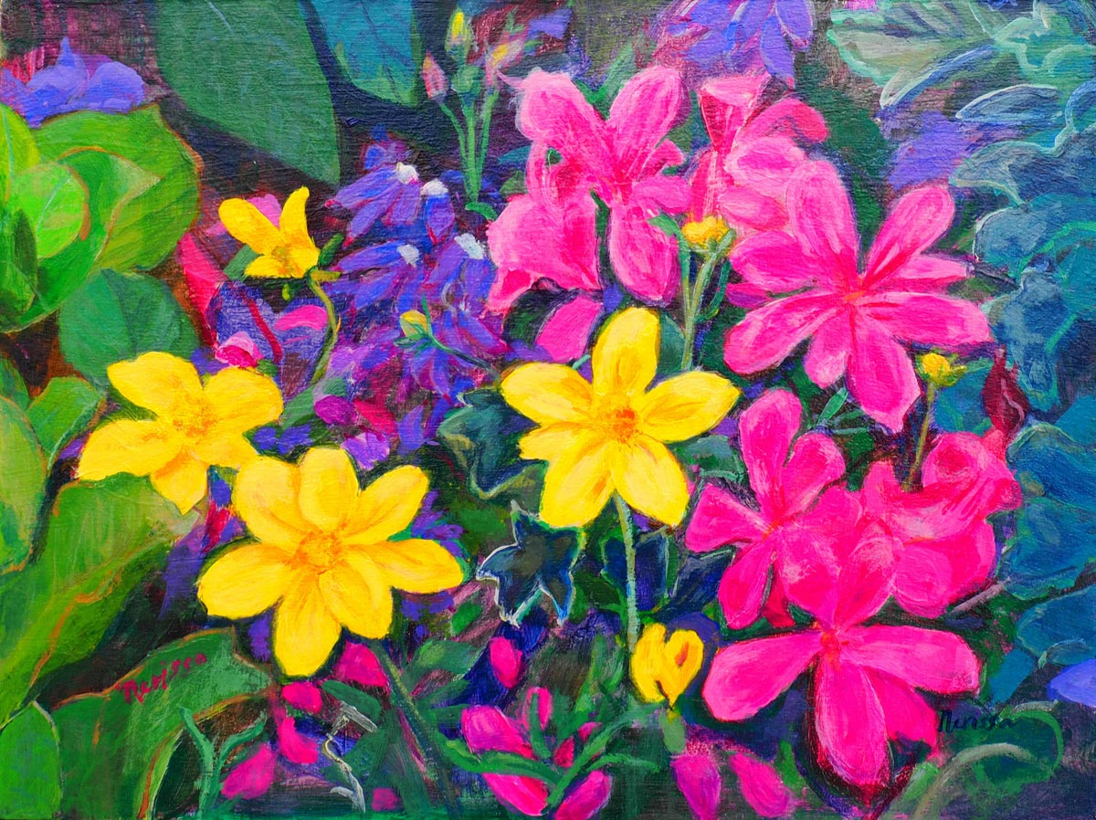 Flowers yellow and fuchsia by Nerissa