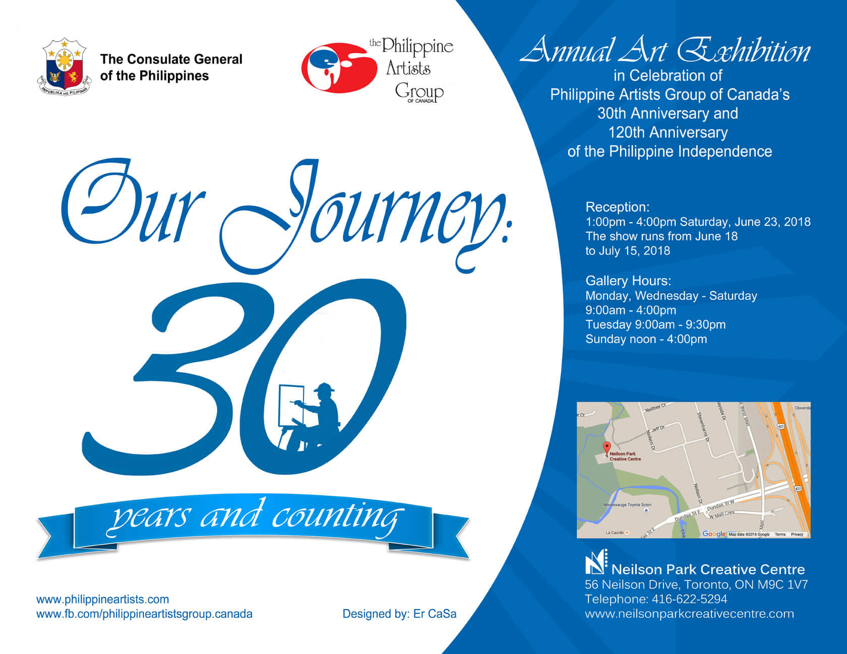 Our Journey: 30 years and counting - An annual Art Exhibition in Celebration of the Philippine Artists Group of Canada's 30th Anniversary and the 120th Anniversary of the Declaration of Philippine Independence.